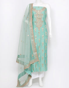 Sea Green Cotton Chanderi Suit Set