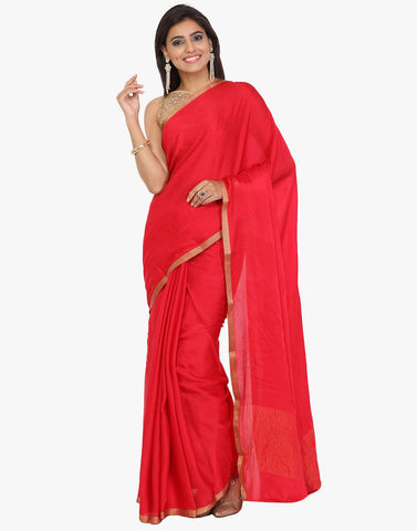 Self Embossed Crepe Saree With Woven Zari Border By Meena Bazaar