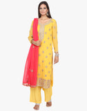 Unstitched Pure Georgette Suit With Gotta Patti Embroidery By Meena Bazaar