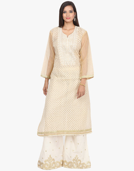 Semi- Stitched All-over Thread Embroidered Cotton Suit With Palazzos By Meena Bazaar