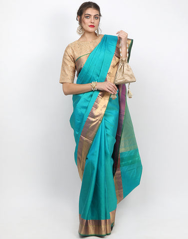 Lake Blue Woven Handloom Saree