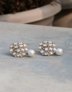 Diamond Studded Earrings With Pearl Drops