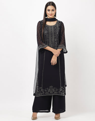 Grey Blue Georgette Salwar Kameez