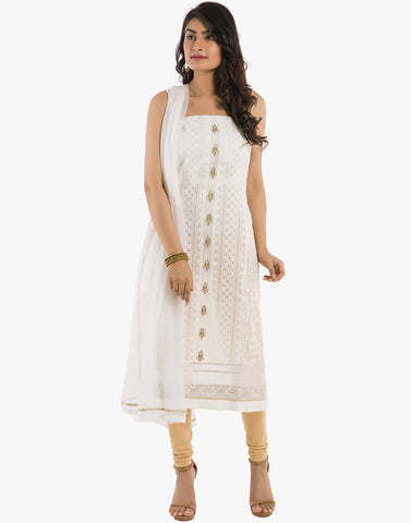 Meena Bazaar: Unstitched Georgette Suit With Cut-Work Embroidery
