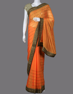 Art Georgette saree with embroidered border