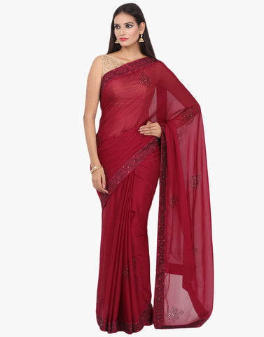 Georgette Saree Embellished With Swarovski Work By Meena Bazaar