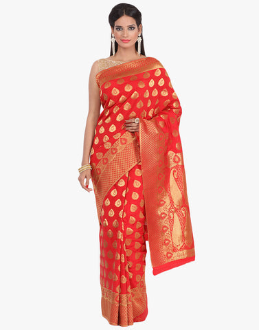 Handloom Silk Saree With All-Over Zari Paisley Booti By Meena Bazaar