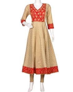 Beige Red Cotton Kurti
