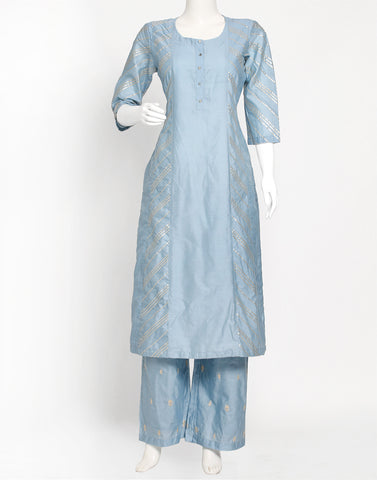 Sky Blue Cotton Kurti with Palazzo