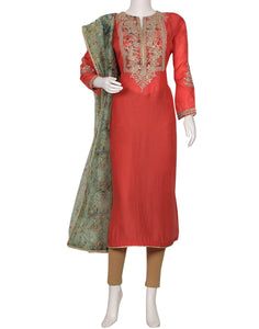Coral Art Handloom Suit Set