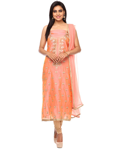 Unstitched Cotton Chanderi Suit With Floral Embroidered Booti By Meena Bazaar