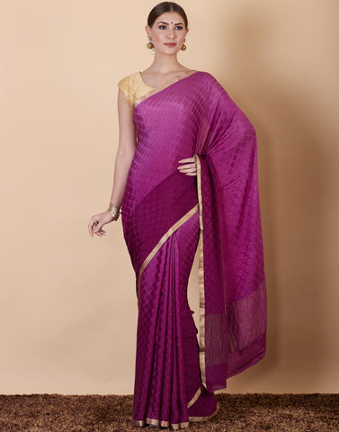 Purple Plain Crepe Saree
