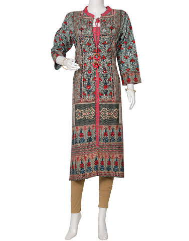 Grey Green and Pink Cotton Kurti