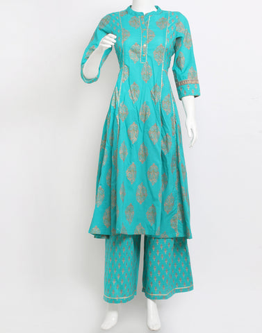 Sea Green Cotton Kurti with Palazzo
