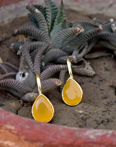 Meena Bazaar: Yellow Sapphire Drop Earrings