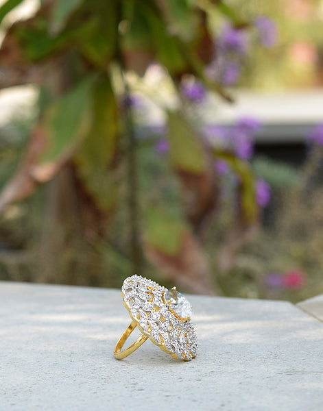 Diamond Embedded Ring In Gold Finish