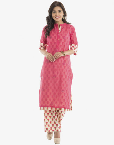 Double Layered Floral Printed Cotton Kurti With Palazzos By Meena Bazaar