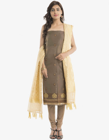 Unstitched Cotton Chanderi Suit With Thread Embroidery By Meena Bazaar