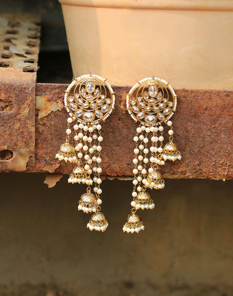 Kundan and Pearl Embedded Dangler Earrings