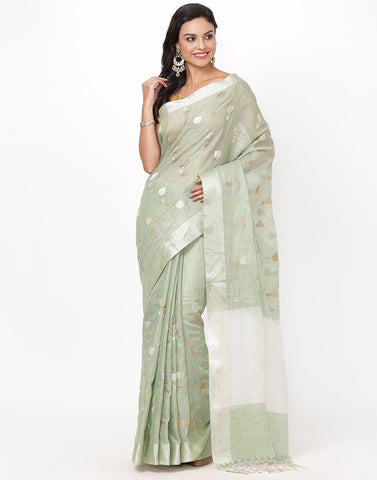 Sea Green Cotton Tissue Saree