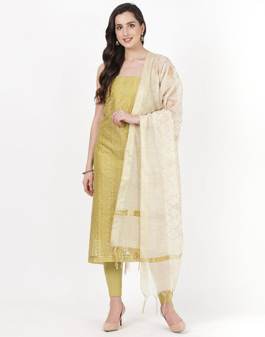 Lime Green Chanderi Suit Set
