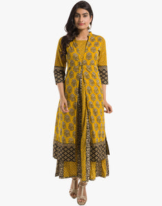 Meena Bazaar: Double Layered  Floral Printed Cotton Anarkali Kurti