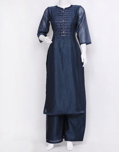 Blue Cotton Chanderi Kurti with Palazzo
