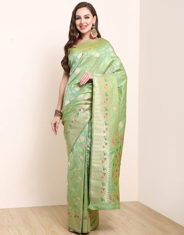 Pista Green Banarasi Art Handloom Saree