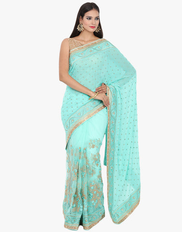 Half and Half Embroidered Net Saree By Meena Bazaar