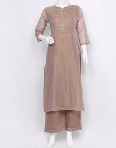 Beige Cotton Chanderi Kurti with Palazzo