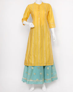 Yellow Sea Green Cotton Chanderi Kurti with Skirt