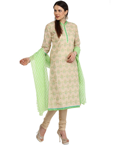 Embroidered Cotton Chanderi Suit By Meena Bazaar