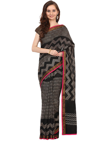 Zig-Zag Printed Cotton Chanderi Saree By Meena Bazaar