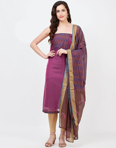 Purple Chanderi Suit Set