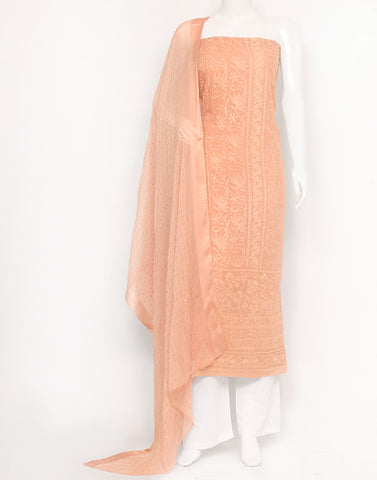 Light Peach Art Georgette Suit Set