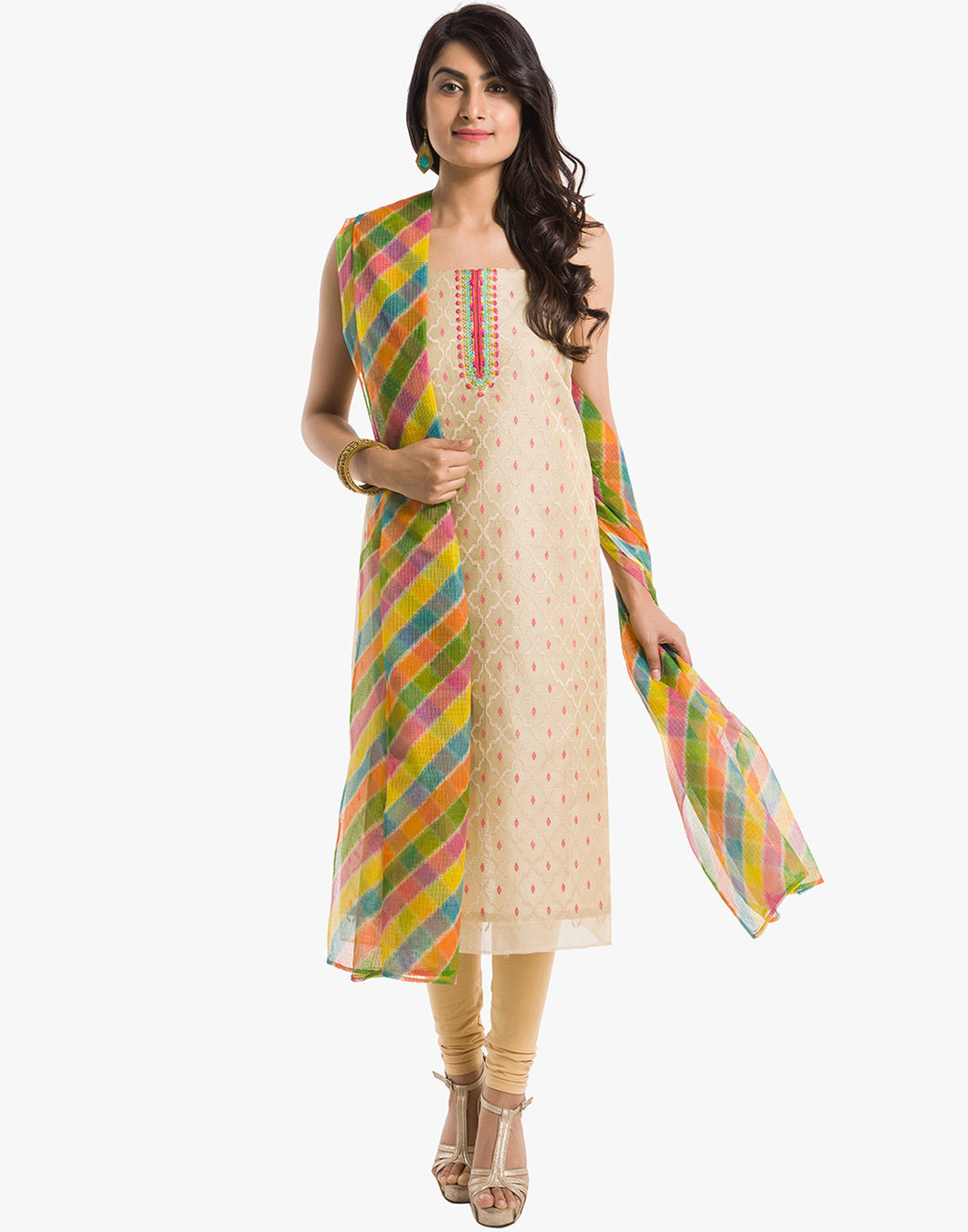 Meena Bazaar: Unstitched Embroidered Cotton Chanderi Suit