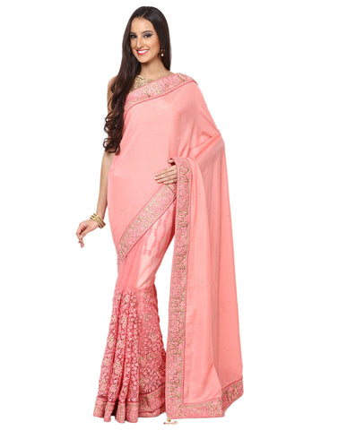 Half and Half Embroidered Dupion Saree By Meena Bazaar