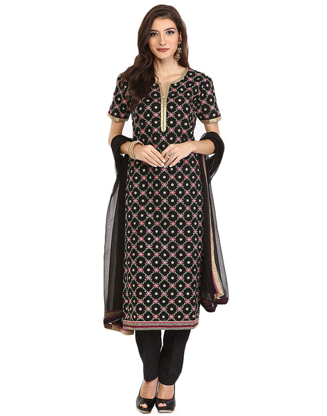 Semi-Stitched Embroidered Cotton Suit By Meena Bazaar