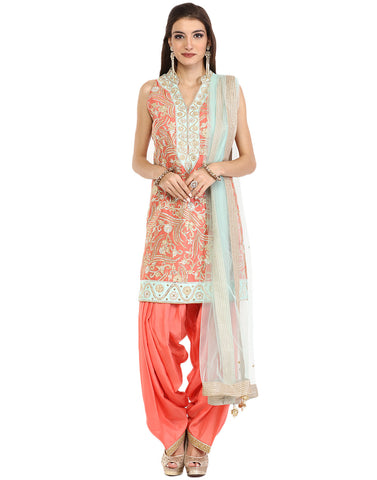 Embroidered Dupion Silk Suit With Patiala Salwaar By Meena Bazaar