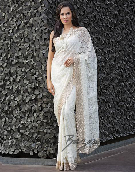 Handcrafted Lucknowi Embroidered Saree By Meena Bazaar