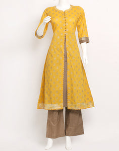 Yellow Brown Cotton Kurti with Palazzo