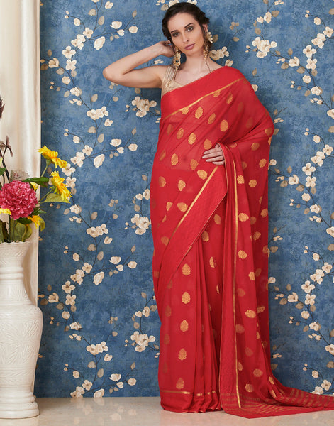 Red Art Chiffon Plain Woven Saree