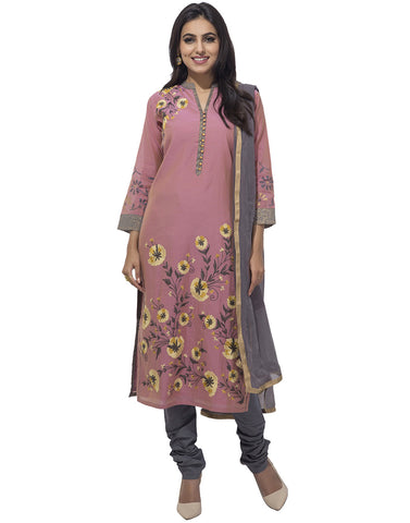 Cotton Chanderi Suit With Floral Thread Embroidery By Meena Bazaar
