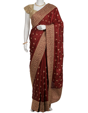 Maroon Woven Embroidered Saree