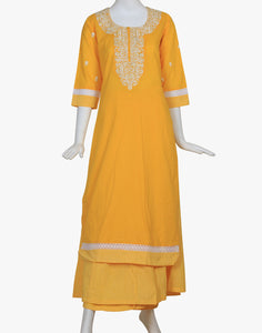 Meena Bazaar: Embroidered Cotton Kurti With Palazzo