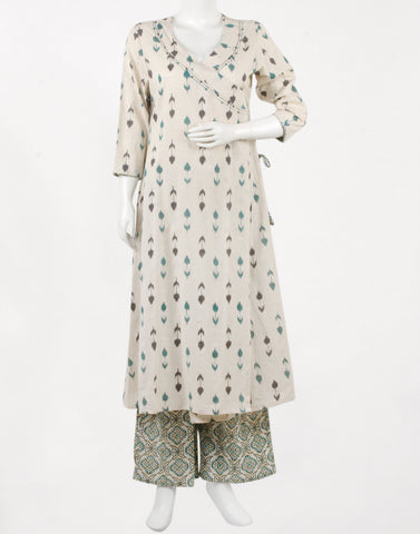 Cream Green Cotton Kurti with Palazzo