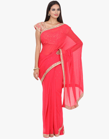 Embroidered Georgette Saree With Ready Blouse By Meena Bazaar