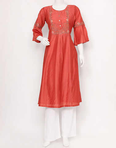 Rust Cotton Chanderi Kurti
