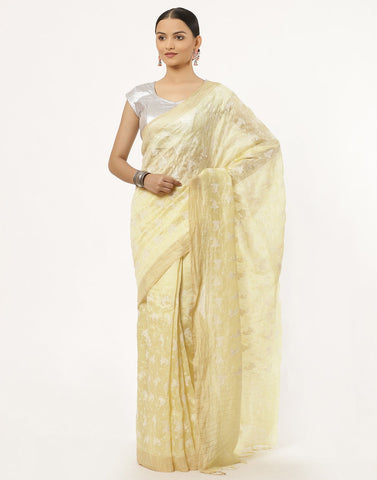 Linen Cotton Saree With Embroidery