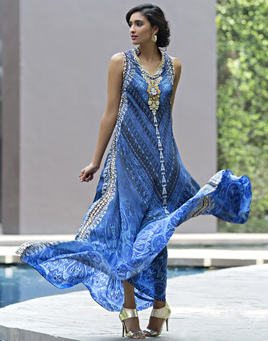 Embellished Digital Printed Crepe Long Dress